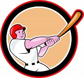 image of hitter  - Illustration of an american baseball player batter hitter batting with bat set inside circle shape done in cartoon style isolated on white background - JPG
