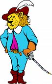 image of musket  - Illustration of a musketeer lion big cat standing viewed from front with sword on isolated background done cartoon style - JPG