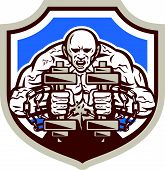 stock photo of strongman  - Illustration of a strongman muscular guy lifting dumbbells weight training breaking shacles chain viewed from front set inside shield crest shape done in retro style - JPG