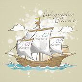 Hand Drawn Style Sailboat Infographic Elements