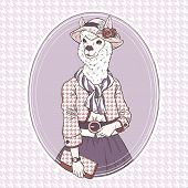 foto of alpaca  - retro fashion hand draw vector illustration of alpaca - JPG