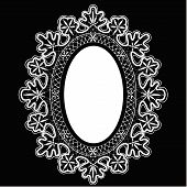 stock photo of frilly  - Black lace oval frame vector - JPG