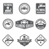 stock photo of pipe wrench  - Plumbing service badges with water pipe plumber and tools isolated vector illustration - JPG