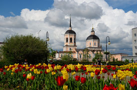 picture of epiphany  - Epiphany Cathedral in Tomsk in spring Siberia Russia - JPG