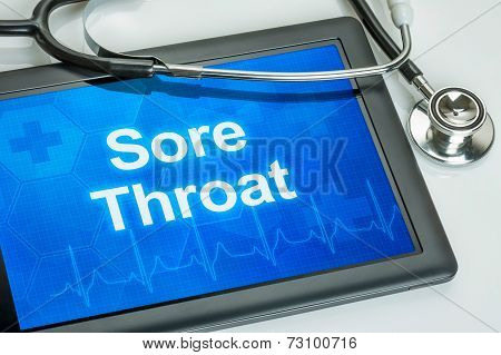 Tablet with the text Sore Throat on the display
