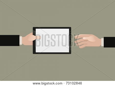 Man giving a tablet pc. Vector flat illustration