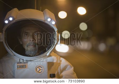 Senior astronaut's face