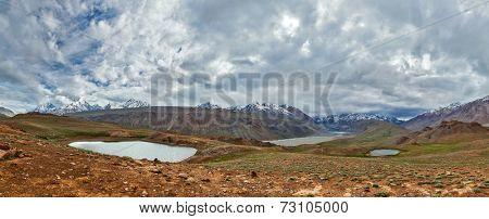 Himalayan landscape panorama. Spiti valley, Himachal Pradesh, India
