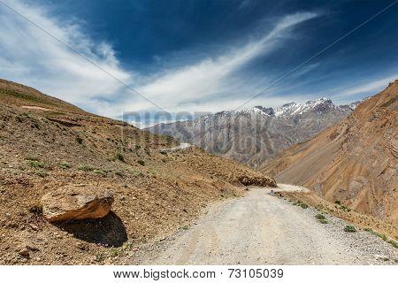 Road in Himalayas. Spiti Valley, Himachal Pradesh, India