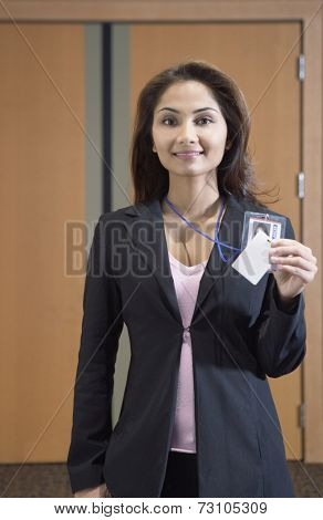 Businesswoman showing her credentials
