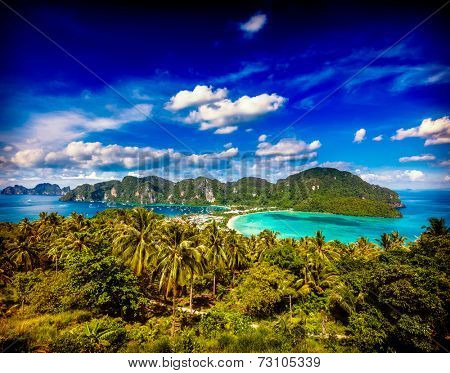 Vintage retro hipster style travel image of Travel vacation background - Tropical island with resorts - Phi-Phi island, Krabi Province, Thailand