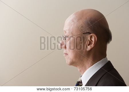 Profile view of a mature man