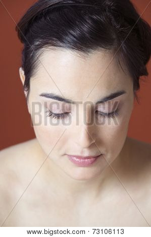 Close up of woman looking down