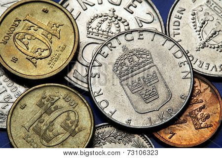 Coins of Sweden. Swedish national coat of arms depicted in Swedish krona coins.