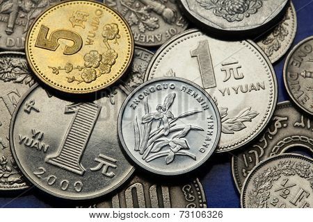 Coins of China. Plum flower and Iris flowers depicted in Chinese five and one Jiao coins and Chinese one Yuan coins.