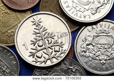Coins of Latvia. A Christmas tree depicted in old Latvian one lats coin.