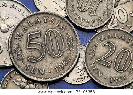 Coins of Malaysia. Malaysian sen coins.