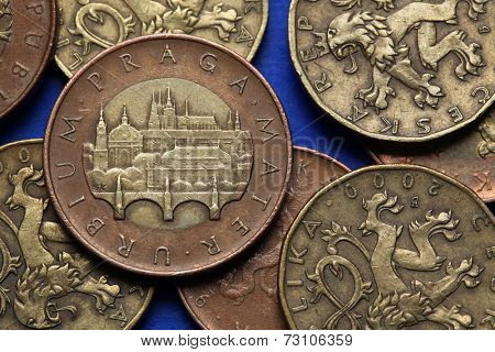Coins of the Czech Republic. View of Prague with the Charles Bridge and Prague Castle depicted in Czech fifty korunas coin.