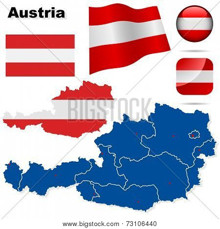 Austria set. Detailed country shape with region borders, flags and icons isolated on white background.