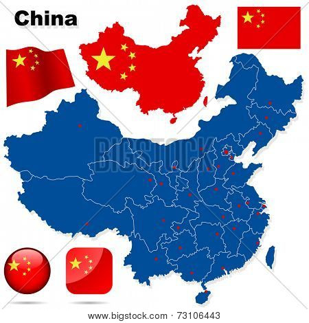 China set. Detailed country shape with region borders, flags and icons isolated on white background.