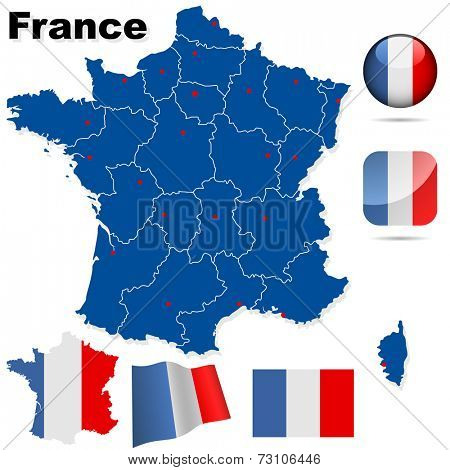 France set. Detailed country shape with region borders, flags and icons isolated on white background.