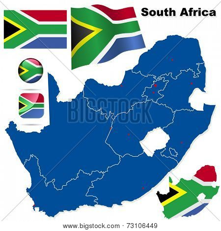 South Africa set. Detailed country shape with region borders, flags and icons isolated on white background.