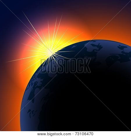 Sun rising over planet background with copy space.