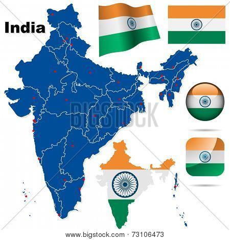 India set. Detailed country shape with region borders, flags and icons isolated on white background.