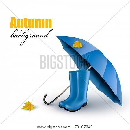 Background with blue umbrella and rain boots. Vector.