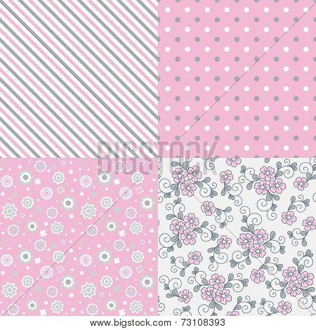 Vector seamless pattern set. Flowers, lines, dots.