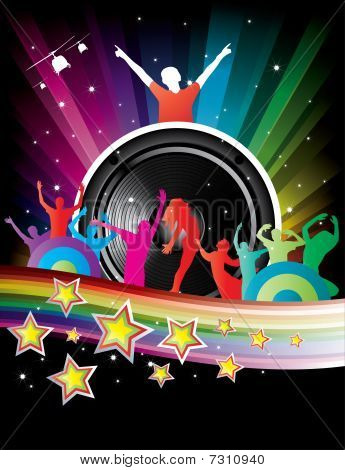 rainbow background with crazy dj and dancers