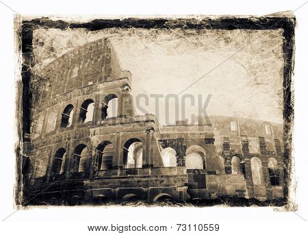 Grainy and gritty image of Colosseum, Rome, Italy.