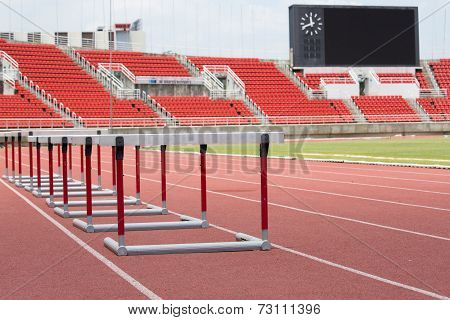 Hurdles On The Red Running Track Prepared