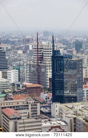 aerial view of downtown area of Nairobi, Kenya