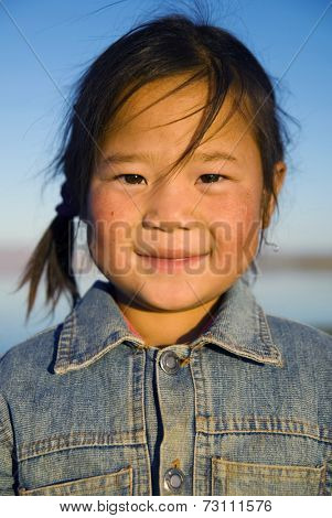 Happiness beautiful Asian Mongolian girl.