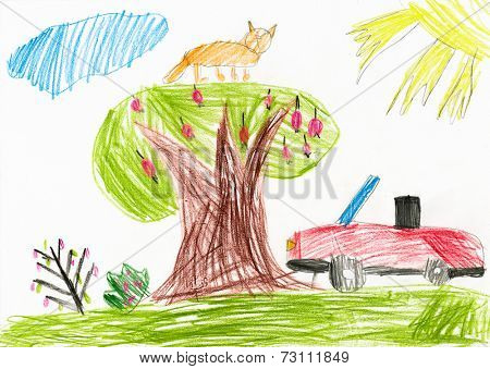 red car on a glade. children drawing