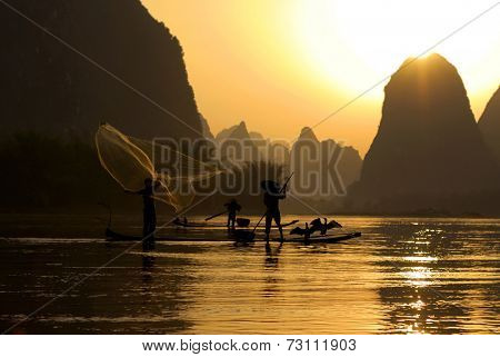 Fishing on the Li River, Guilin, China.