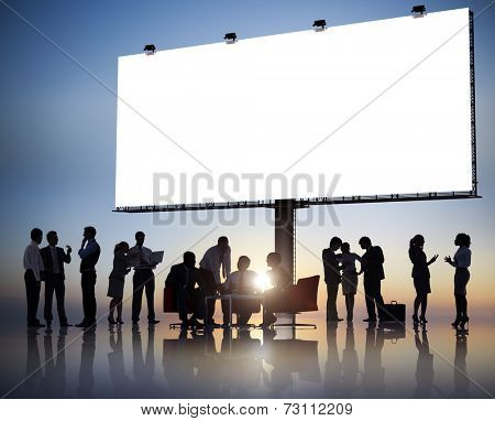 Large Group of Business People Meeting with Placard