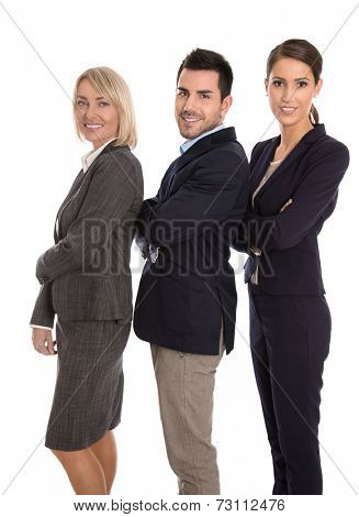 Isolated successful male and female business team: concept for equality treatment.