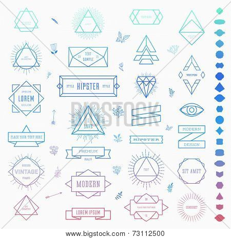 Set of Retro Vintage Insignias and Logotypes. Business Signs, Logos, Identity Elements, Labels, Badges, Frames, Borders and Other Design Elements. Instagram Color Style.