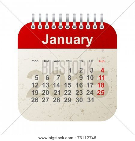 calendar 2015 in vintage style - january