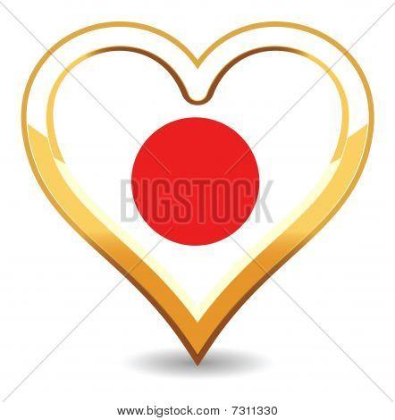 Heart Japan Flag
