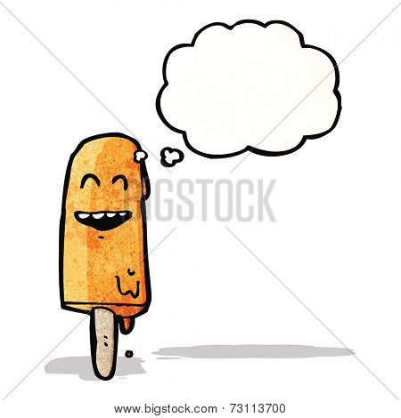 cartoon ice lolly with thought bubble