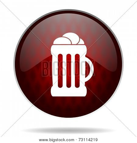 beer red glossy web icon on white background
