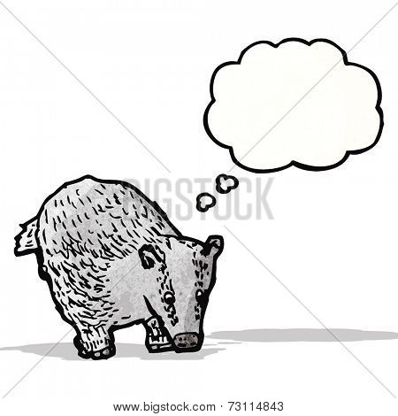 cartoon badger with thought bubble