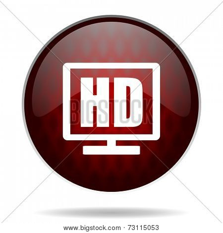 hd display red glossy web icon on white background