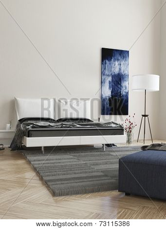 3D Rendering of Comfortable contemporary grey and white bedroom interior with abstract wall art, double bed, ottoman and herringbone wooden parquet floor