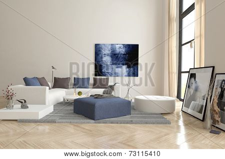 3D Rendering of Living room interior with a herringbone parquet floor and comfortable modern modular upholstered lounge suite with artwork on the walls