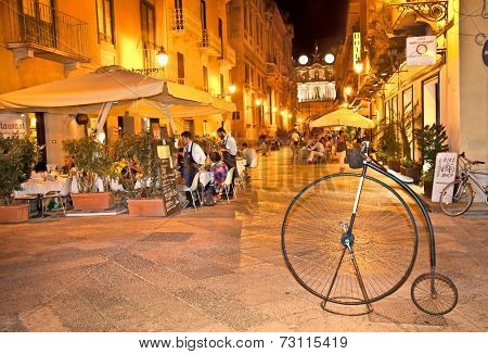 TRAPANI, ITALY - SEP 15, 2014: Unidentified people on the street in Trapani, sep 15, 2014.  Sicily. Trapani is at the West point of Sicily.