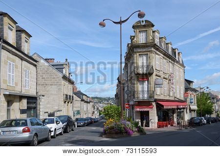 BRIVE-LA-GAILLARDE, FRANCE - SEPTEMBER 9, 2013: Building of Hotel du Progres on the corner of Jean Jaures Avenue. In French popular culture the town is associated to a song by Georges Brassens